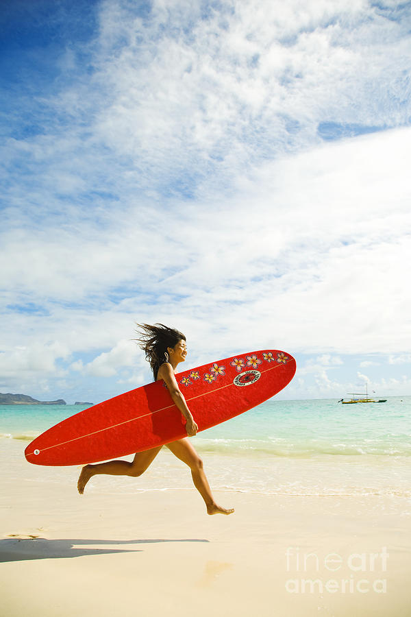 Afternoon Photograph - Running With Surfboard by Dana Edmunds - Printscapes