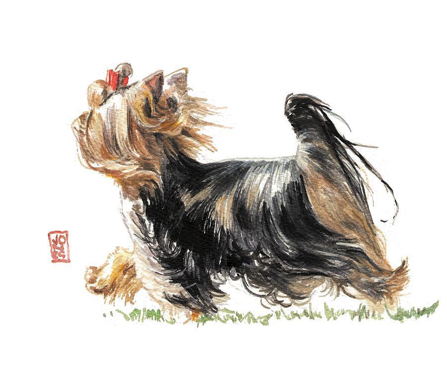 Yorkie Painting - Running Yorkie by Debra Jones