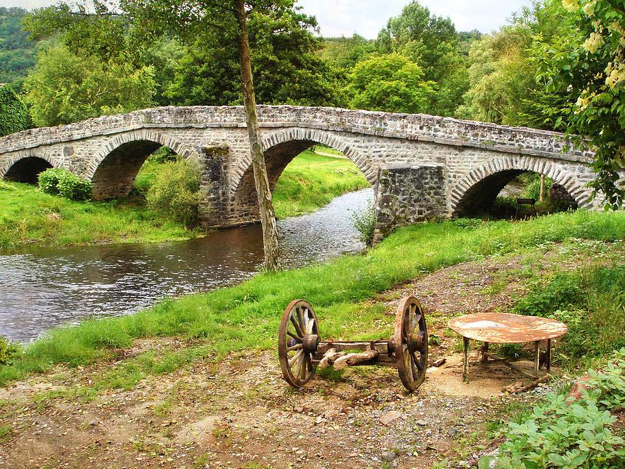 Old Stone Bridge Photograph - Rural France With Old Stone Arched Bridge by Menega Sabidussi
