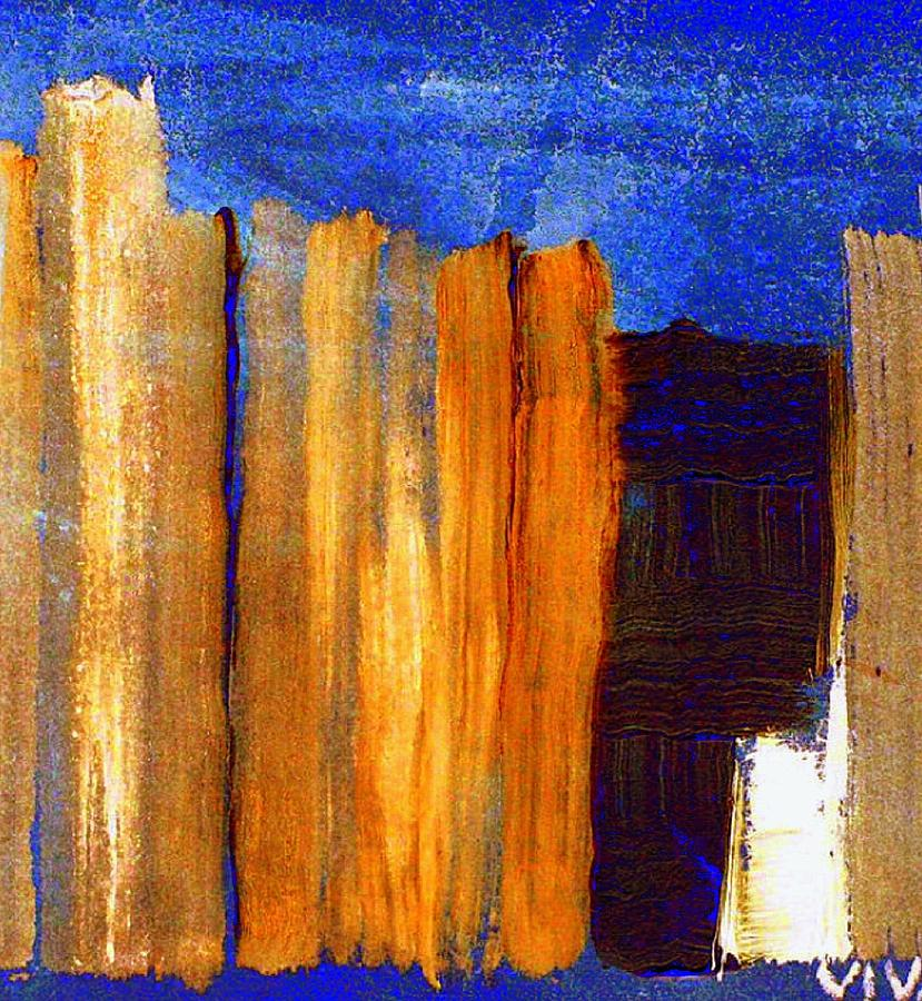 Fence Painting - Rural Landscape 1.1 by VIVA Anderson