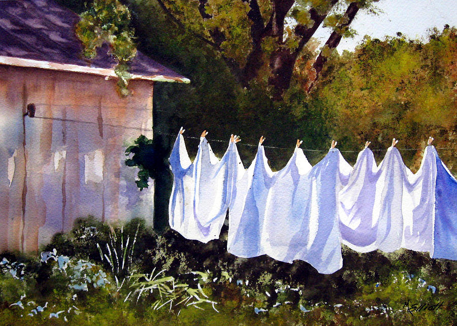 Country Painting - Rural Laundromat by Marsha Elliott