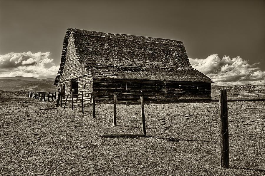 Rural Montana Barn In Sepia Photograph