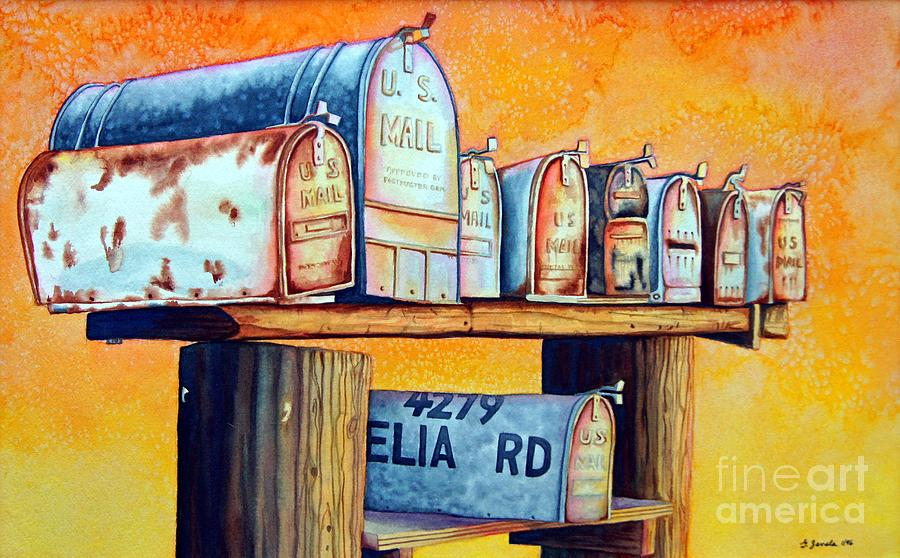 Mailboxes Painting - Rural Route by Gail Zavala