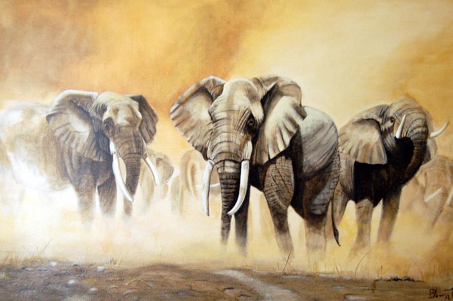 Elephants Painting - Rush by Blima Efraim