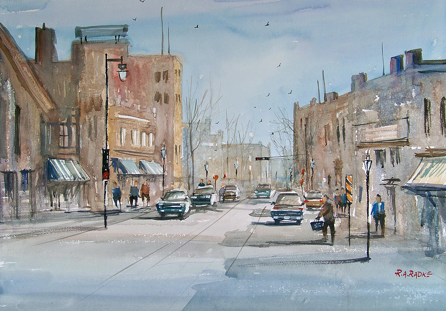 Street Scene Painting - Rush Hour - Fond Du Lac by Ryan Radke