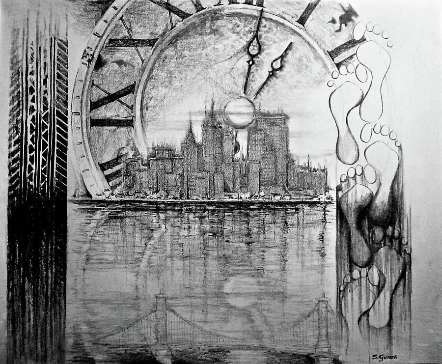 Drawing Drawing - Rush Hour by Geni Gorani
