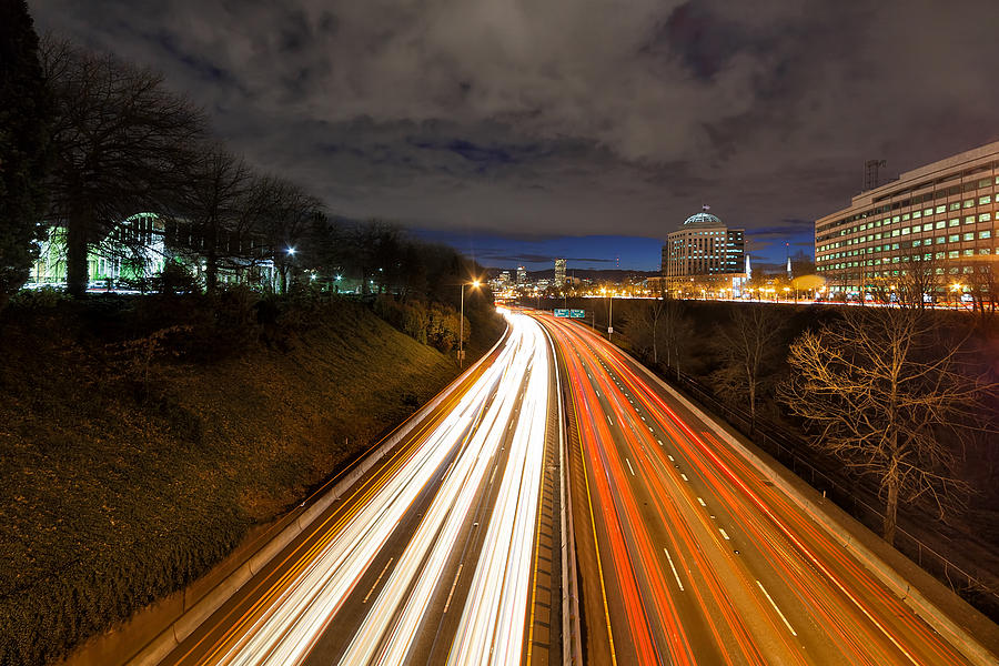 Rush Hour Photograph - Rush Hour Light Trails by David Gn