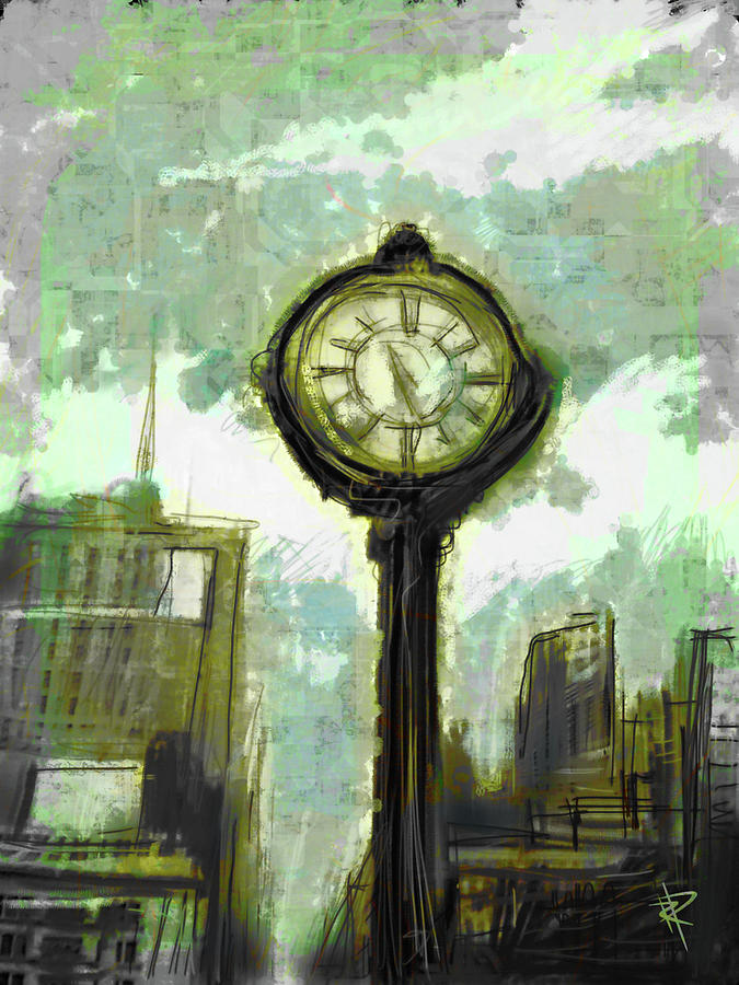 Clock Mixed Media - Rush Hour Nyc by Russell Pierce
