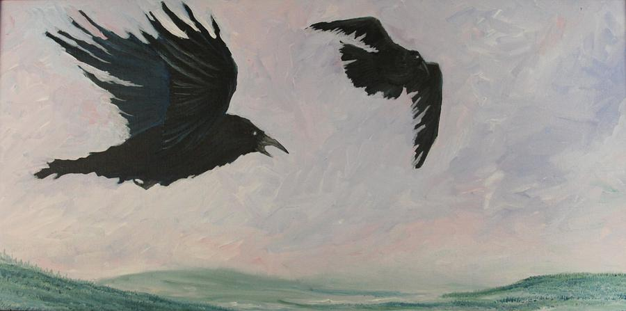 Ravens Painting - Rush Hour Ravens by Amy Reisland-Speer