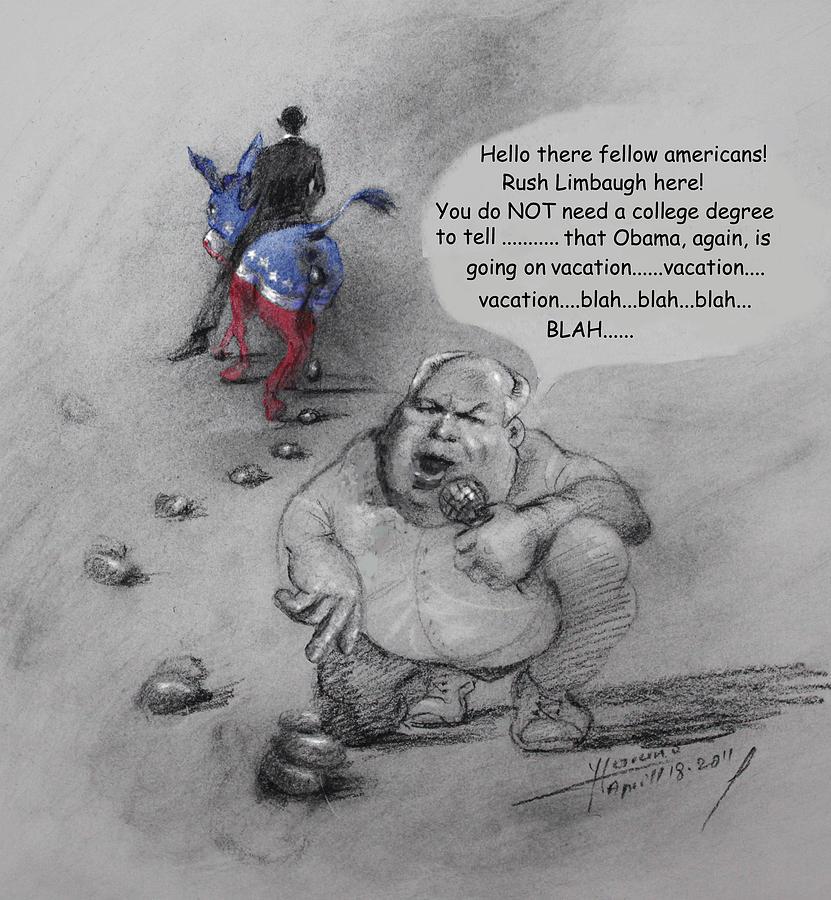 Rush Limbaugh Mixed Media - Rush Limbaugh After Obama  by Ylli Haruni
