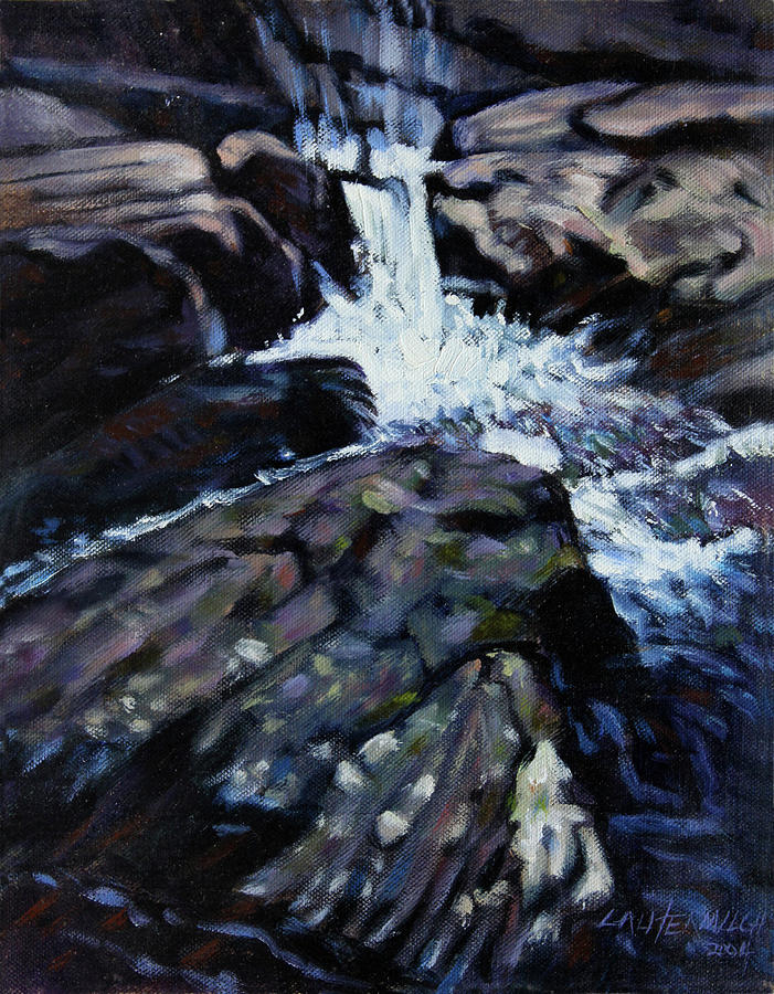 Waterfall Painting - Rushing Waters three by John Lautermilch