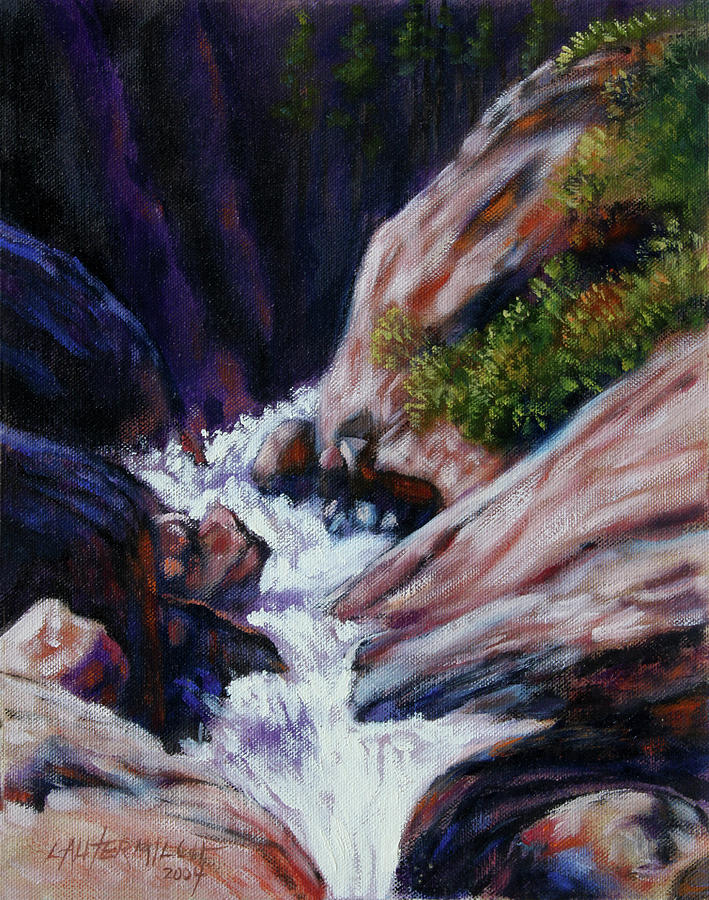 Mountain Stream Painting - Rushing Waters two by John Lautermilch