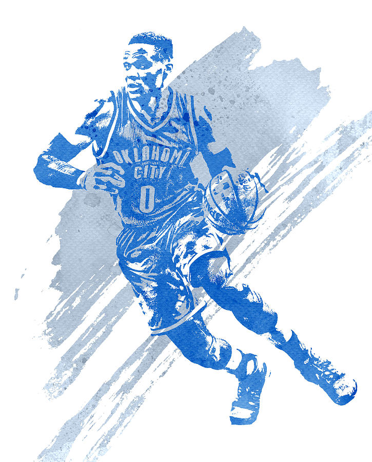 best service 9e880 55594 Russell Westbrook Oklahoma City Thunder Water Color Art 1