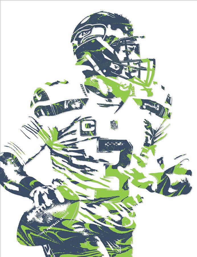 Russell Wilson Seattle Seahawks Pixel Art 10 Mixed Media by Joe Hamilton