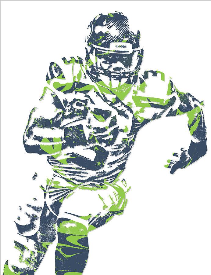 Russell Wilson Seattle Seahawks Pixel Art 12 Mixed Media by Joe Hamilton
