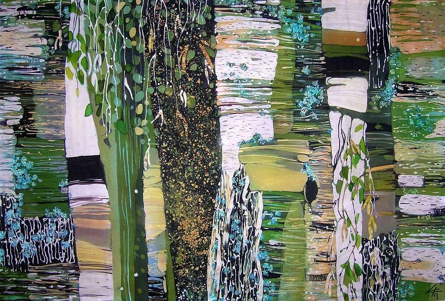 Impressionism Painting - russian Birches  by Chagorova Tanja