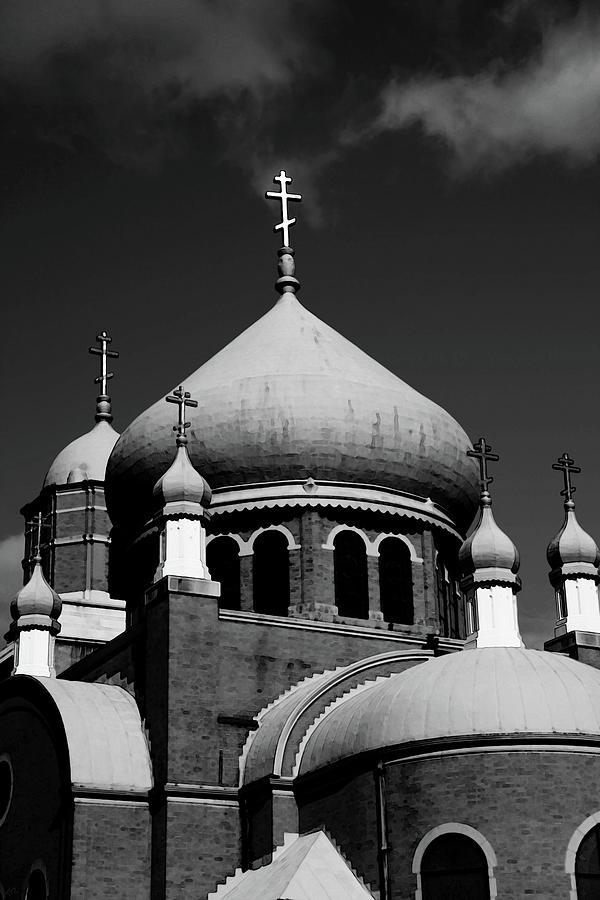 Russian Photograph - Russian Orthodox Church Bw by Karol Livote