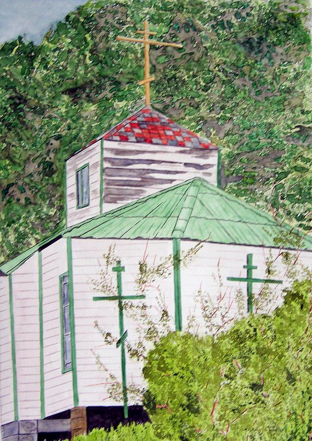 Church Painting - Russian Orthodox In Hoonah by Larry Wright
