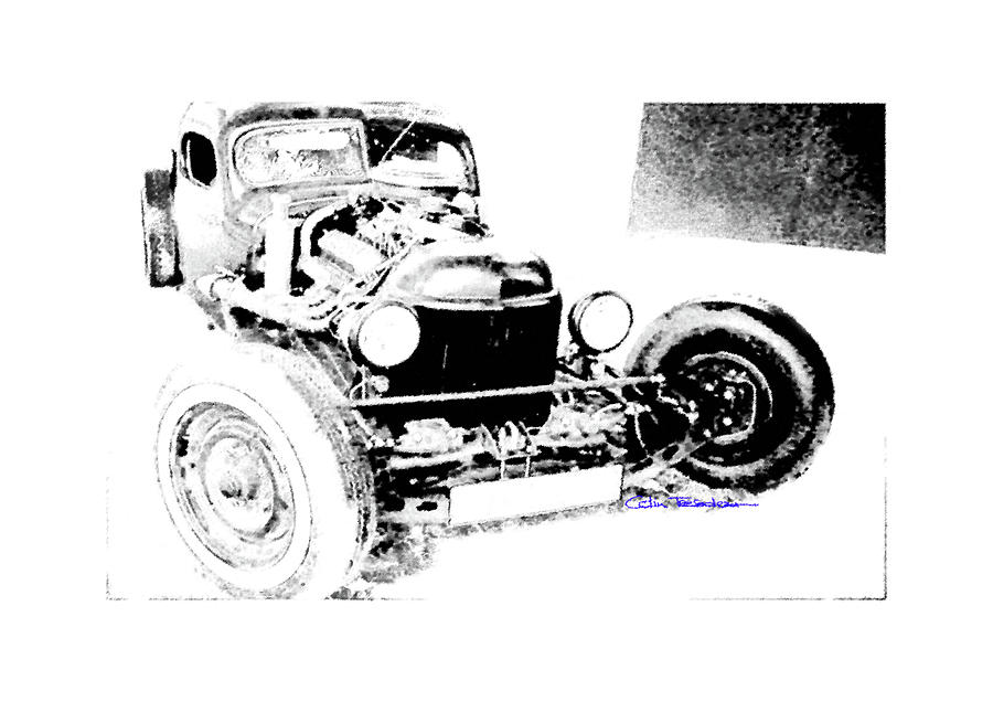 Rat Rod Drawing - Russian Rat Rod by MOTORVATE STUDIO Colin Tresadern
