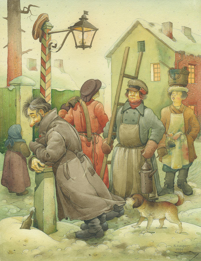 Russian Winter Painting - Russian Scene 06 by Kestutis Kasparavicius