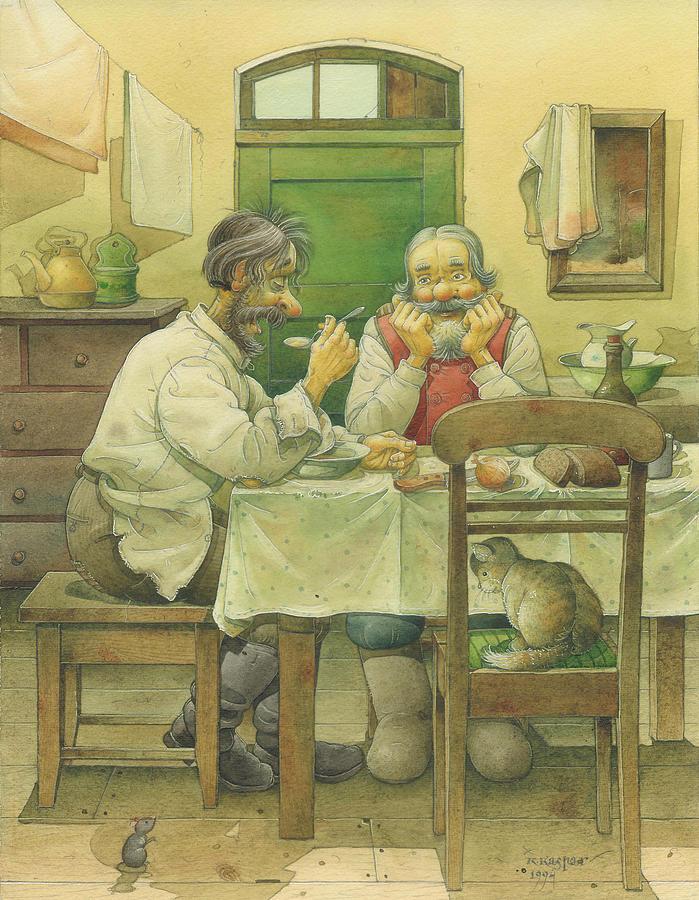 Russian Winter Painting - Russian Scene 08 by Kestutis Kasparavicius