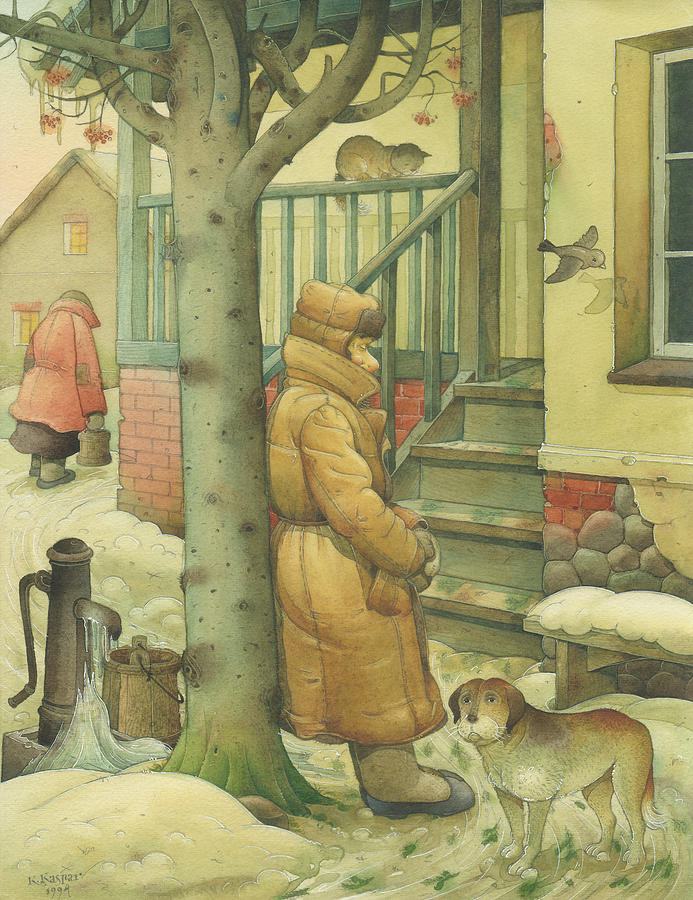 Russian Winter Painting - Russian Scene 10 by Kestutis Kasparavicius