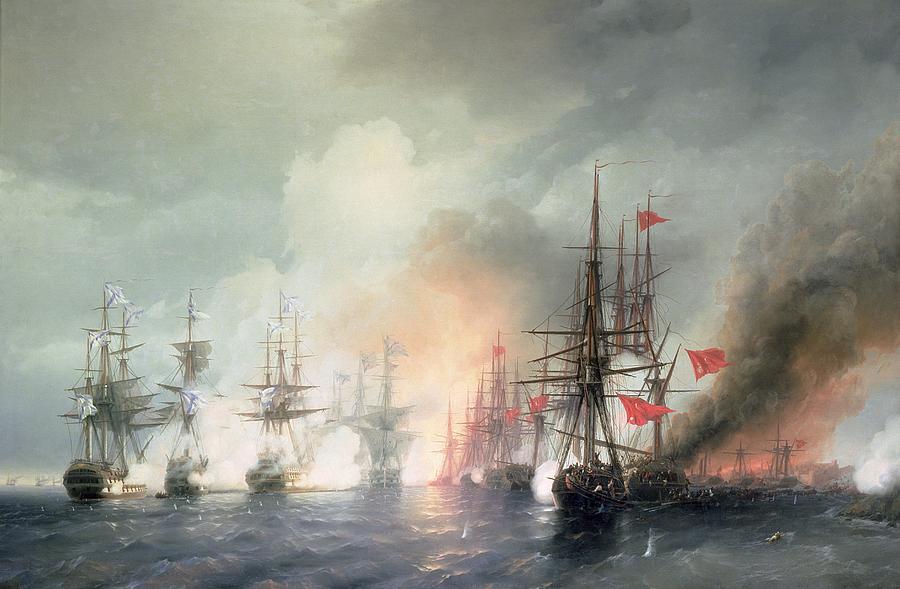 Sea Painting - Russian Turkish Sea Battle Of Sinop by Ivan Konstantinovich Aivazovsky