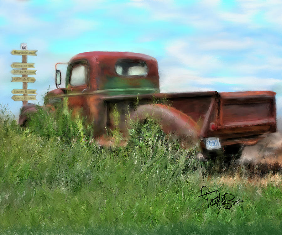 Vintage Trucks Painting - Rusted Not Retired by Colleen Taylor