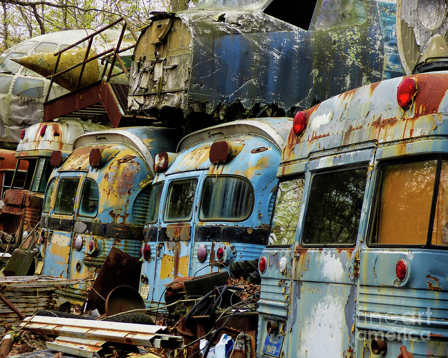 Old Buses Photograph - Rusted Series by Laura Atkinson