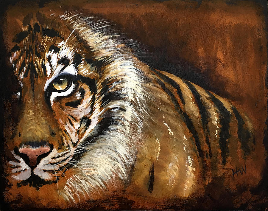 Tiger Painting - Rusted Tiger by Holly Whiting