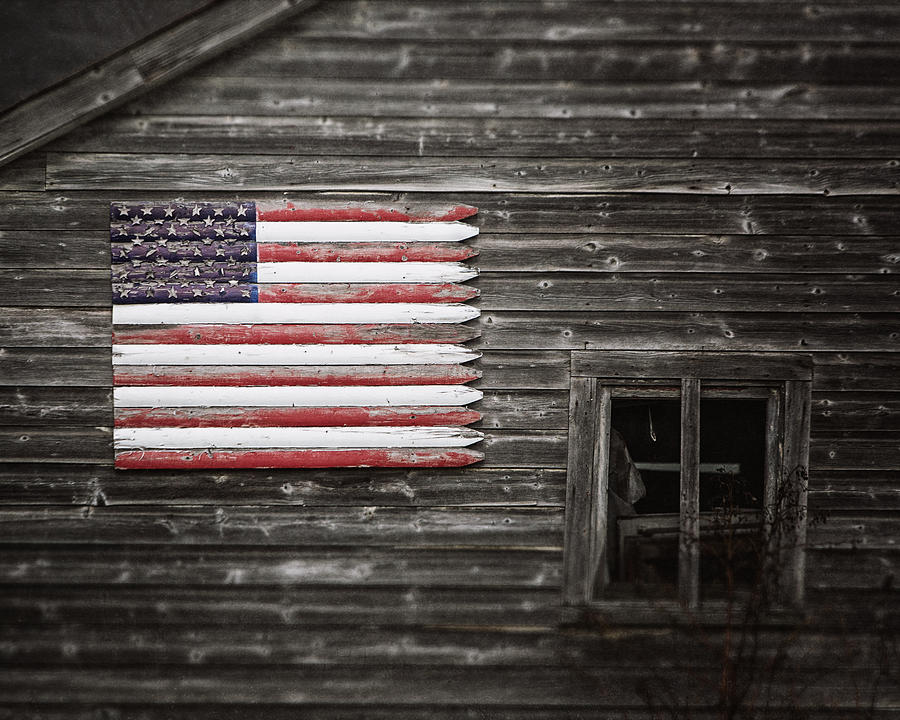 Rustic American Flag On A Weathered Grey Barn Photograph By Lisa Russo