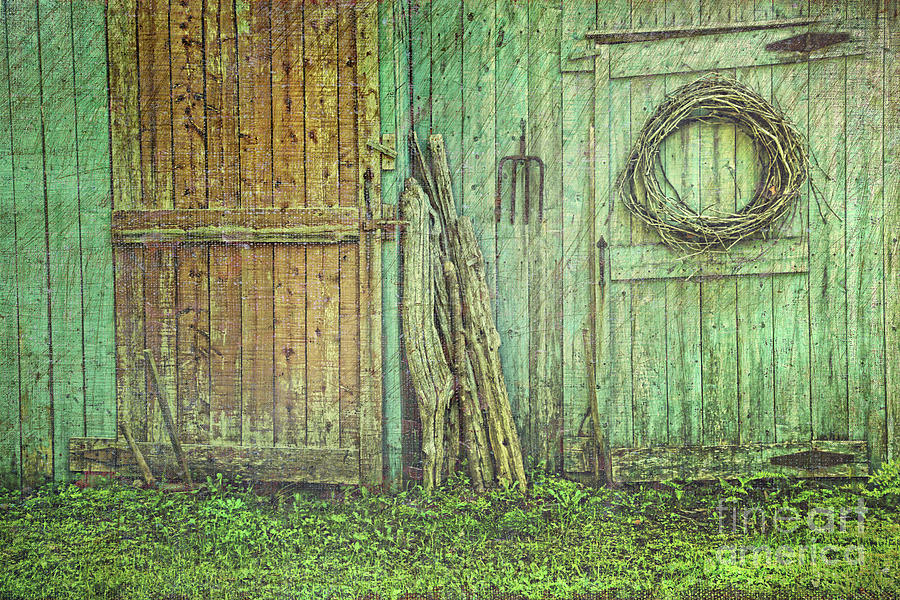 Barn Photograph - Rustic Barn Doors With Grunge Texture by Sandra Cunningham