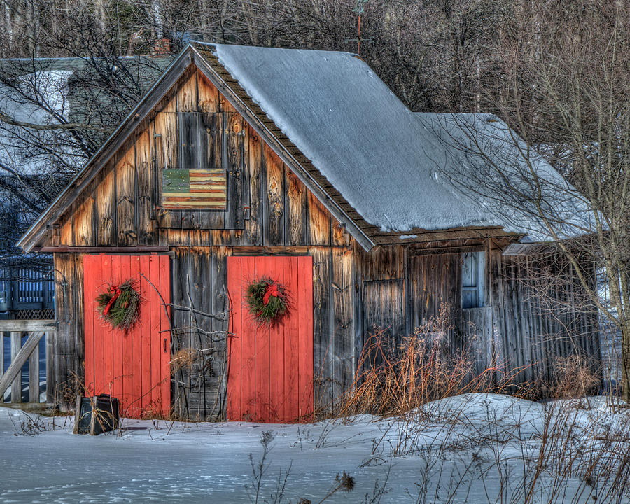 Rustic Barn With Flag In Snow Photograph By Joann Vitali
