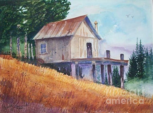 Watercolor Painting - Rustic Cabin by Elizabeth A Gawronski