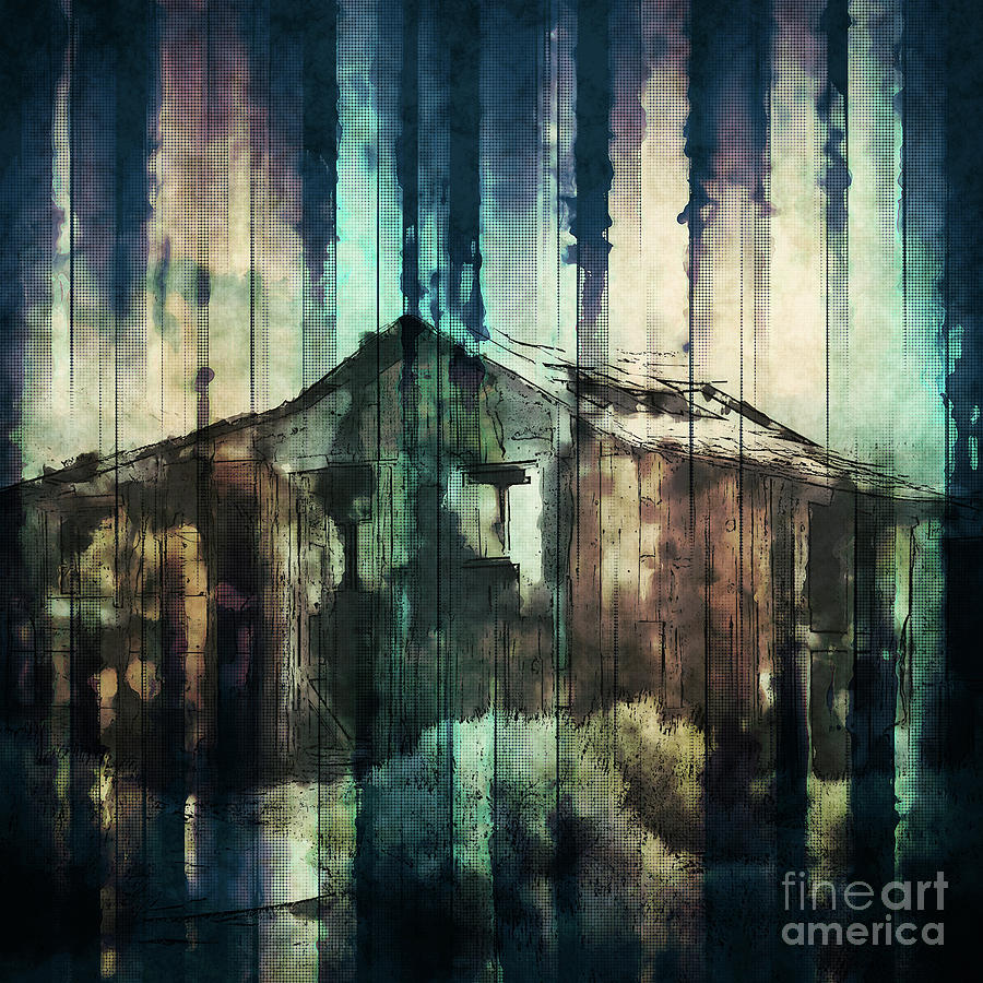 Weathered Digital Art - Rustic Cabin by Phil Perkins
