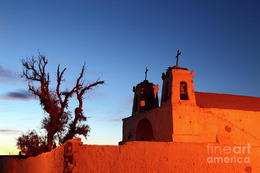 Chile Photograph - Rustic Colonial Church At Chiu Chiu Chile by James Brunker