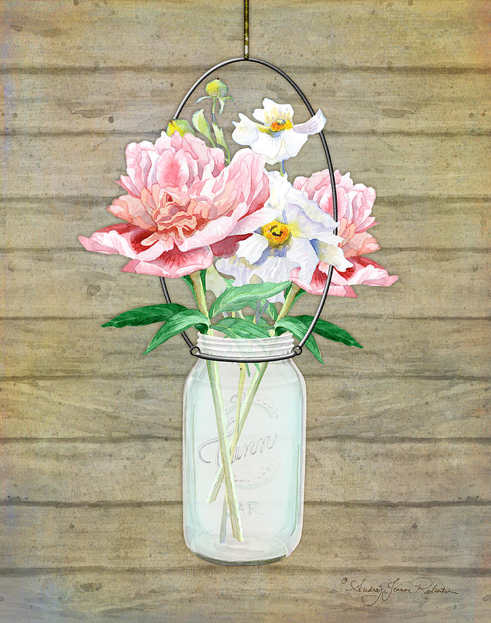 Rustic Country Peony N Poppy Mason Jar Bouquet On Wooden Fence