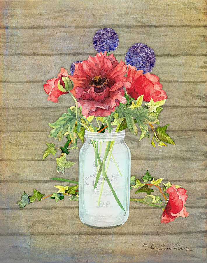 Watercolor Painting - Rustic Country Red Poppy W Alium N Ivy In A Mason Jar Bouquet On Wooden Fence by Audrey Jeanne Roberts