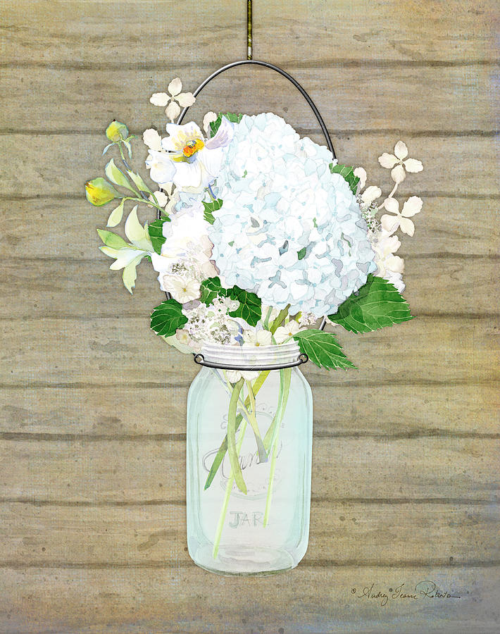 White Hydrangea Painting - Rustic Country White Hydrangea n Matillija Poppy Mason Jar Bouquet on Wooden Fence by Audrey Jeanne Roberts