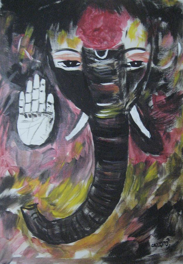 Rustic Ganesha Painting by Usha Rai