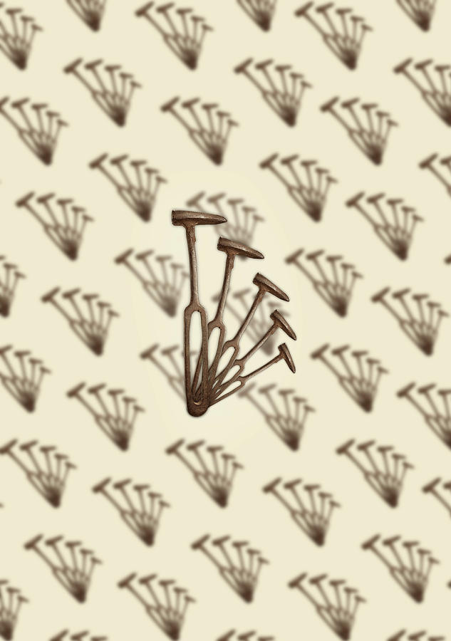 Antique Photograph - Rustic Hammer Pattern by YoPedro