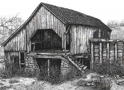 Rustic Mill Drawing by John  R Harris