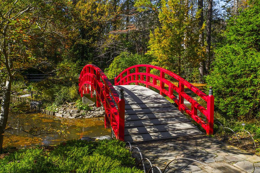 Bridge Photograph - Rustic Red Bridge by William Hall