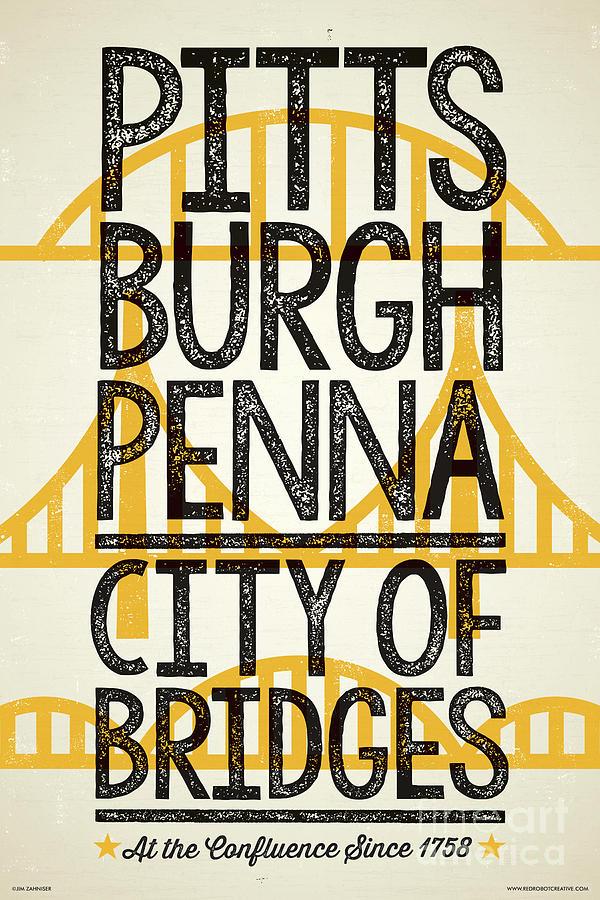 Pittsburgh Digital Art - Rustic Style Pittsburgh Poster by Jim Zahniser