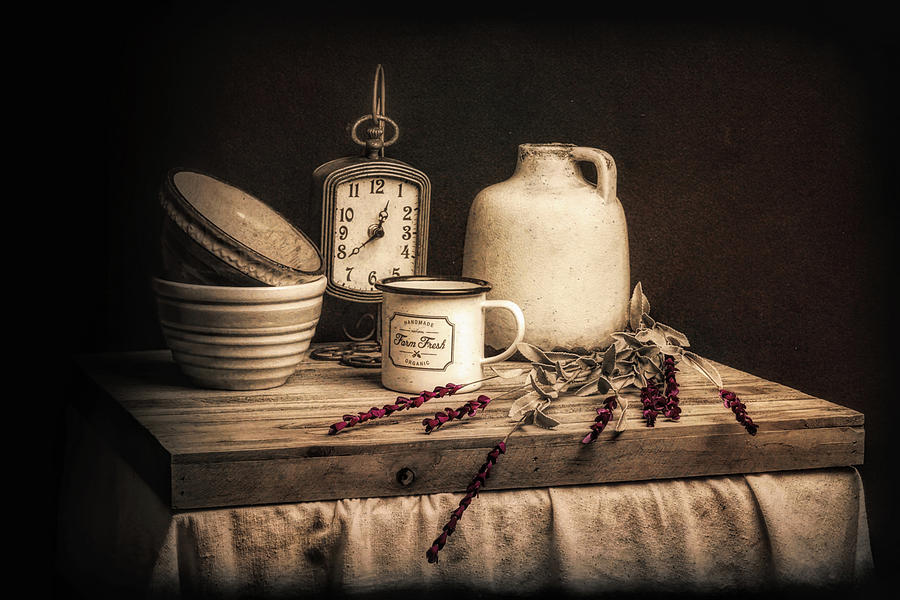 Still Life Photograph - Rustic Table Setting Still Life by Tom Mc Nemar