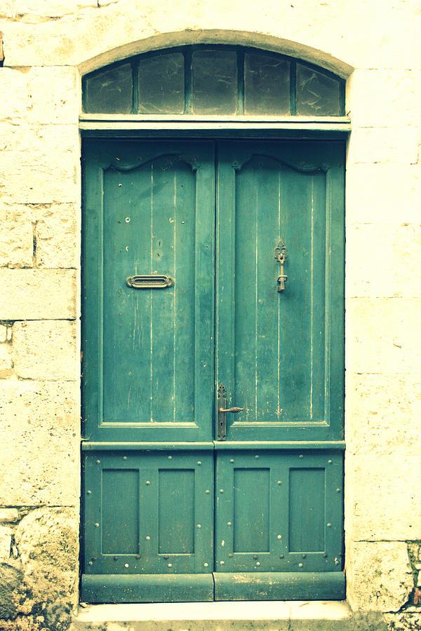 Rustic Back Doors : Rustic teal green door photograph by georgia fowler