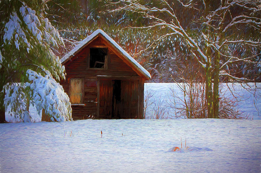 Landscape Photograph - rustic Vermont shack in snow by Jeff Folger