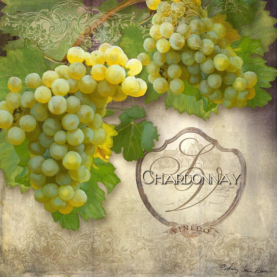 Rustic Vineyard - Chardonnay White Wine Grapes Vintage Style ...