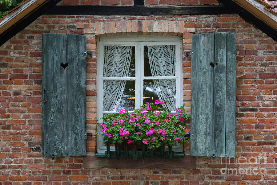 Window Photograph - Rustic Window And Red Bricks Wall by Yair Karelic