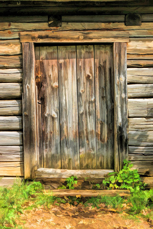 Rustic Wooden Door At Old World Wisconsin Painting By